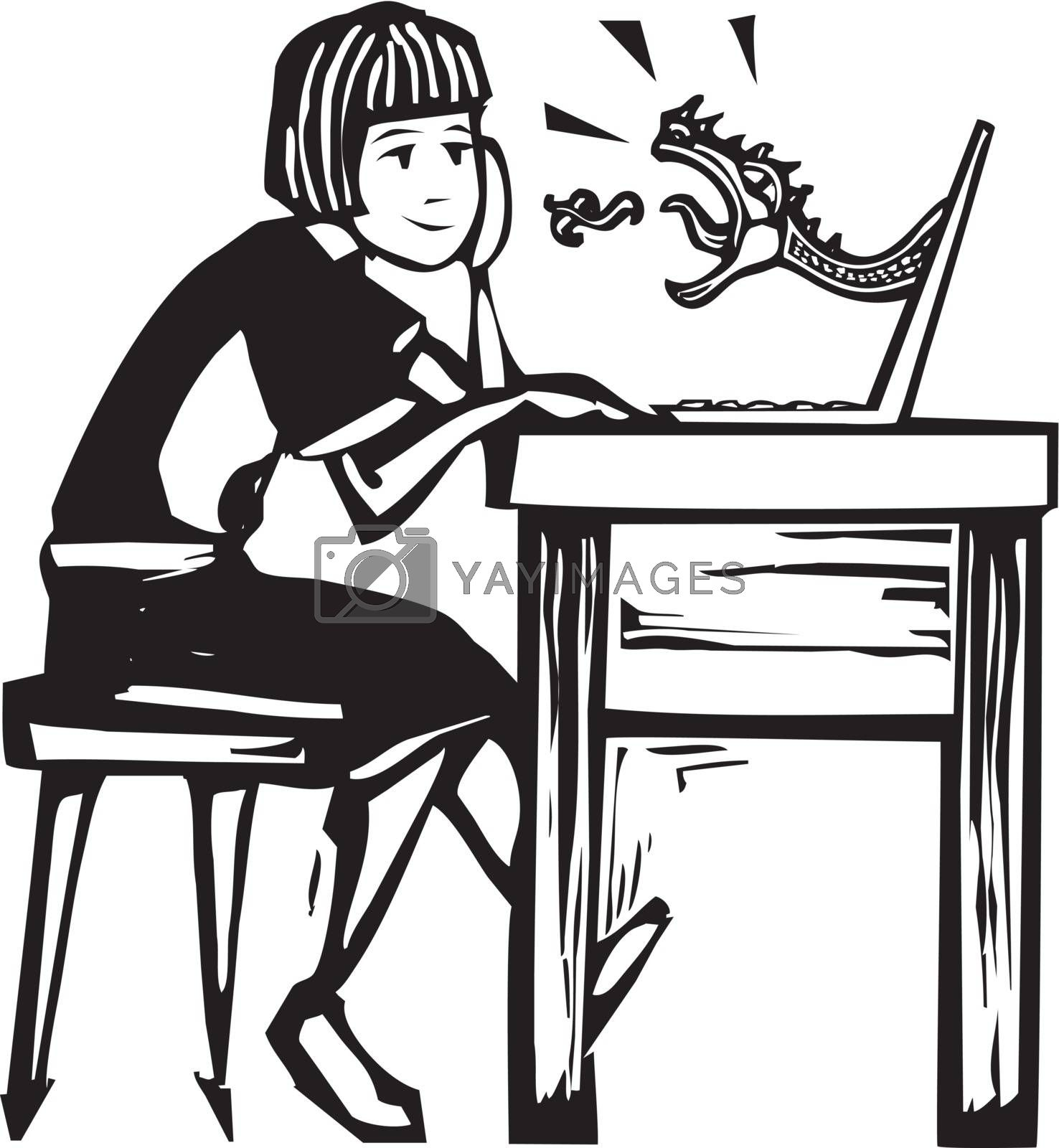 Girl sitting at a laptop computer playing an online fantasy game.