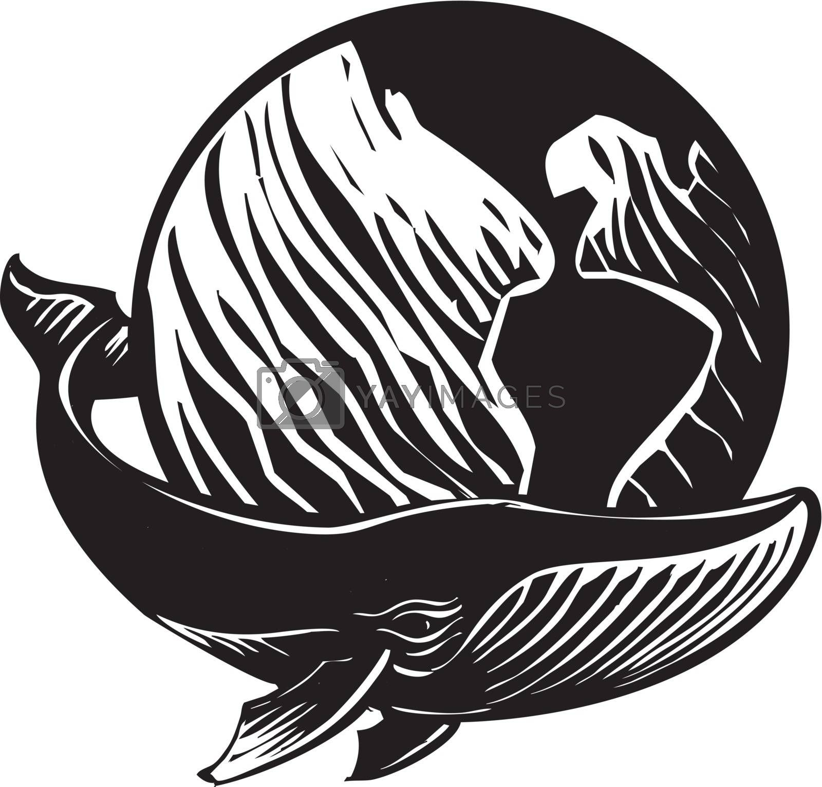 Woodcut style image of a whale and the Earth.