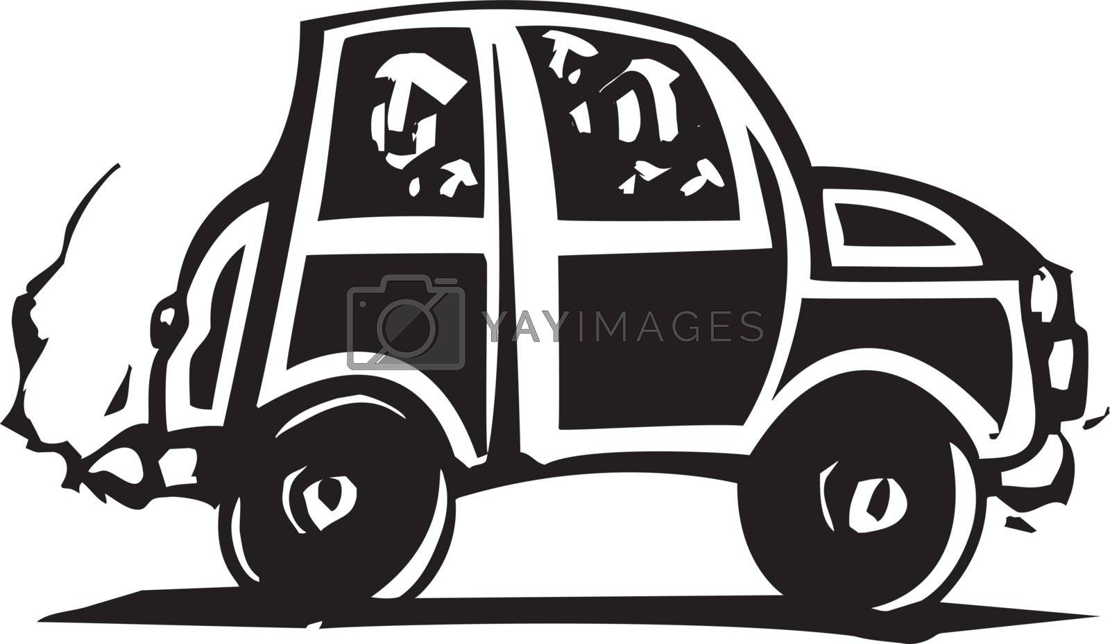 Woodcut style small car with people inside.