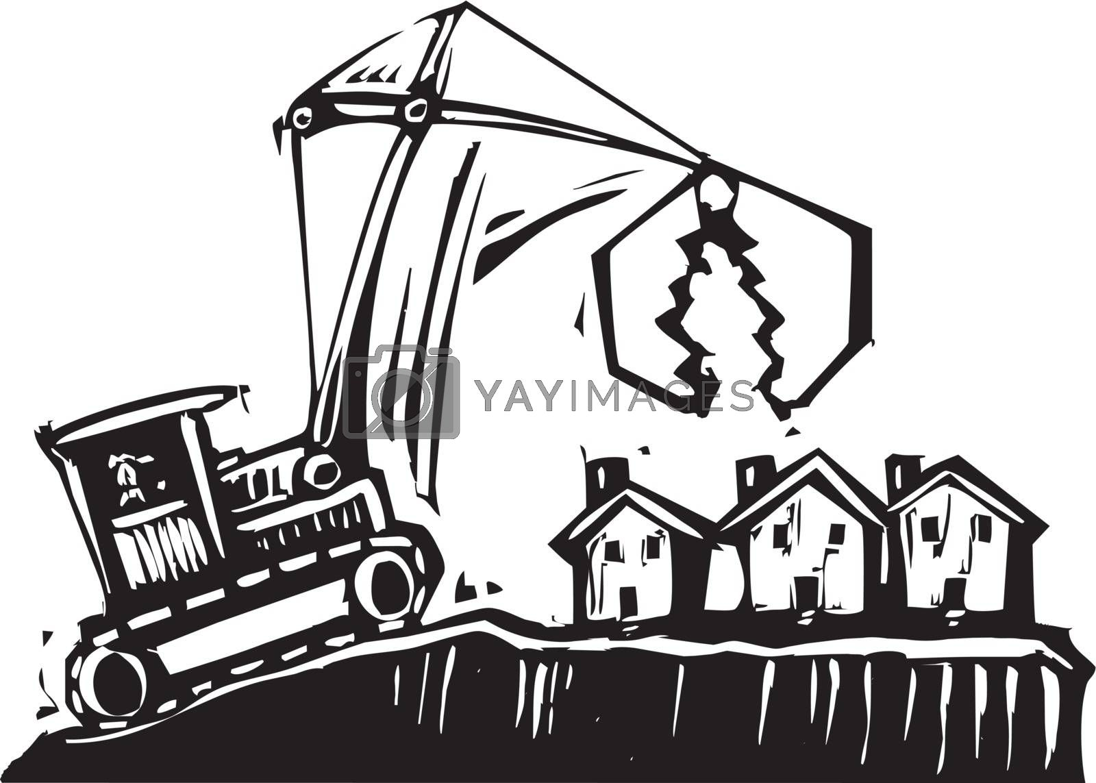 Woodcut style image of a crane getting ready to demolish small houses.