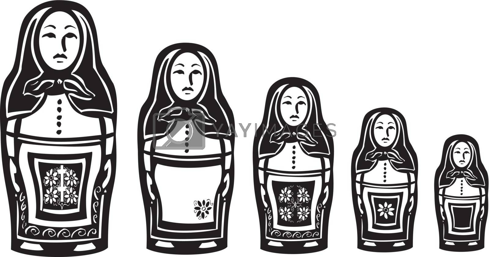 woodcut style image of a series of Russian nested dolls.