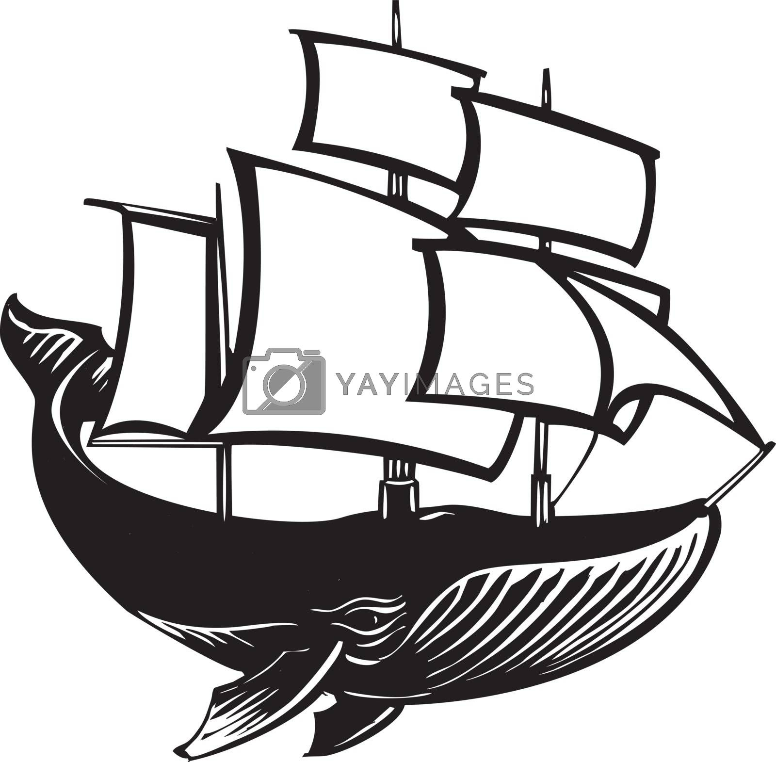 Woodcut style sail propelled baleen whale.