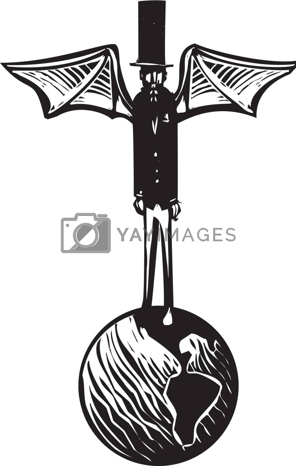 Woodcut style Victorian dressed demon with wings and a top hat standing on the earth.