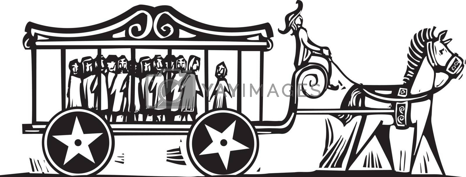 Woodcut style image of captured Children on display in a carnival carriage.