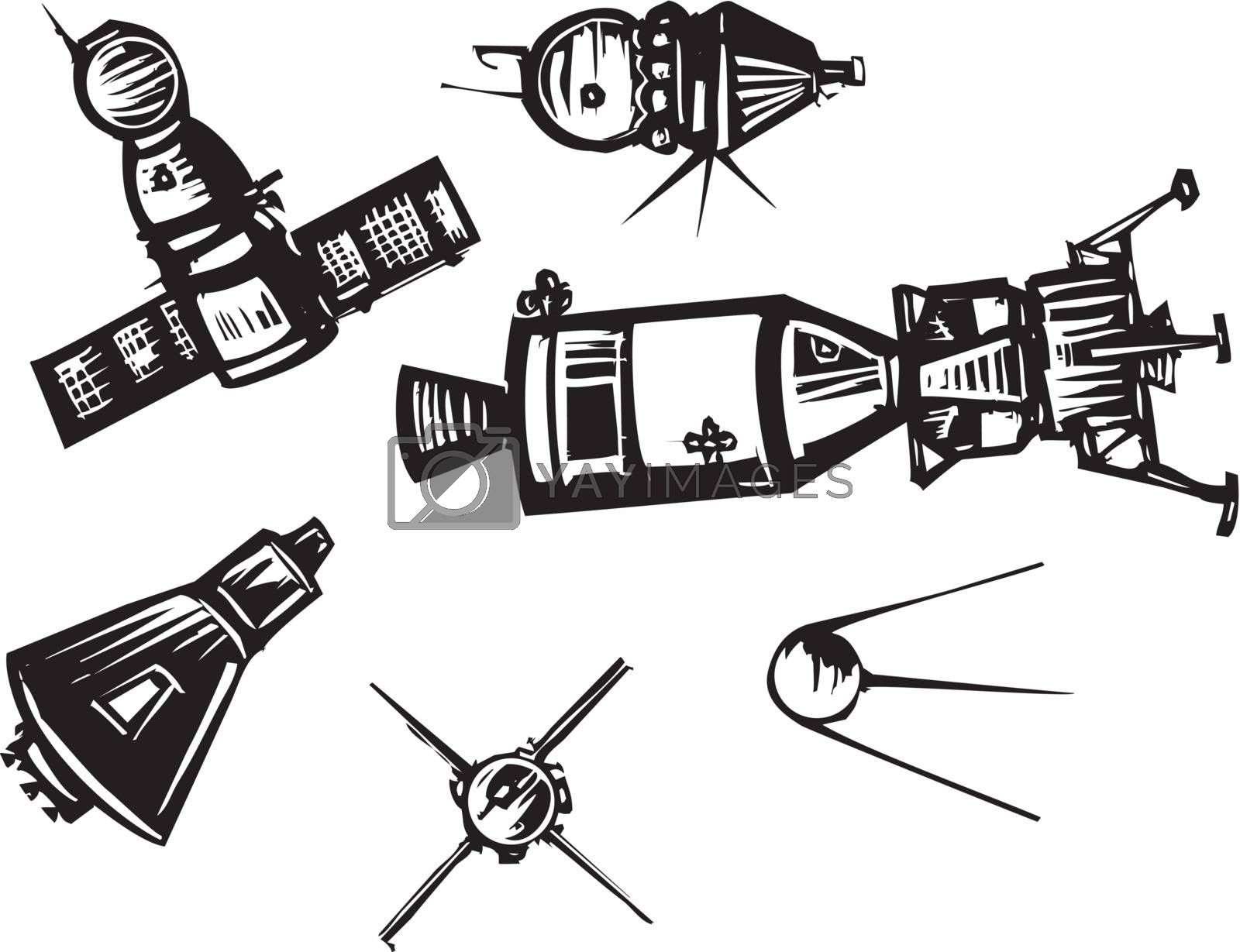 Woodcut style set of historical Soviet Russian and American NASA Spaceships.