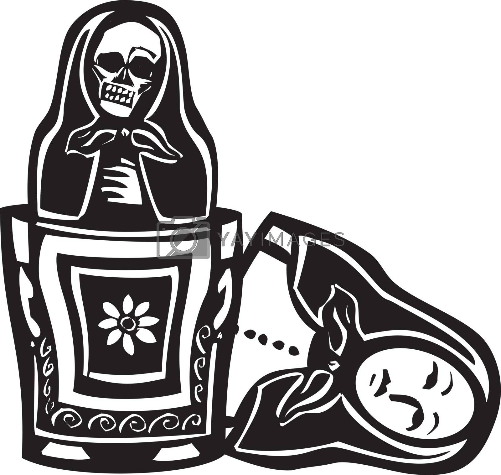 woodcut style image of a Russian nested doll with a skeleton doll inside.