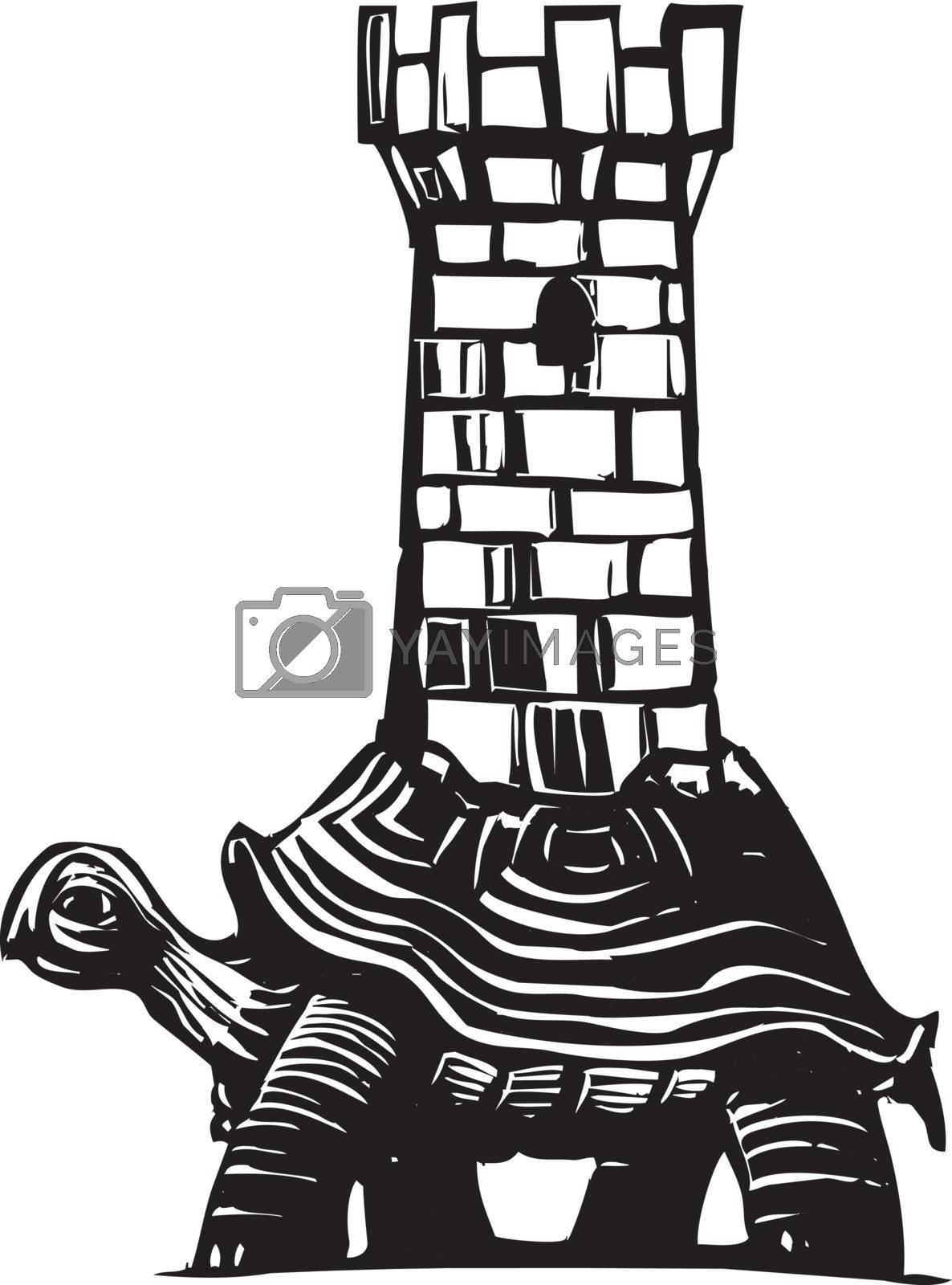 Woodcut style image of a turtle with a medieval fortress on his back.