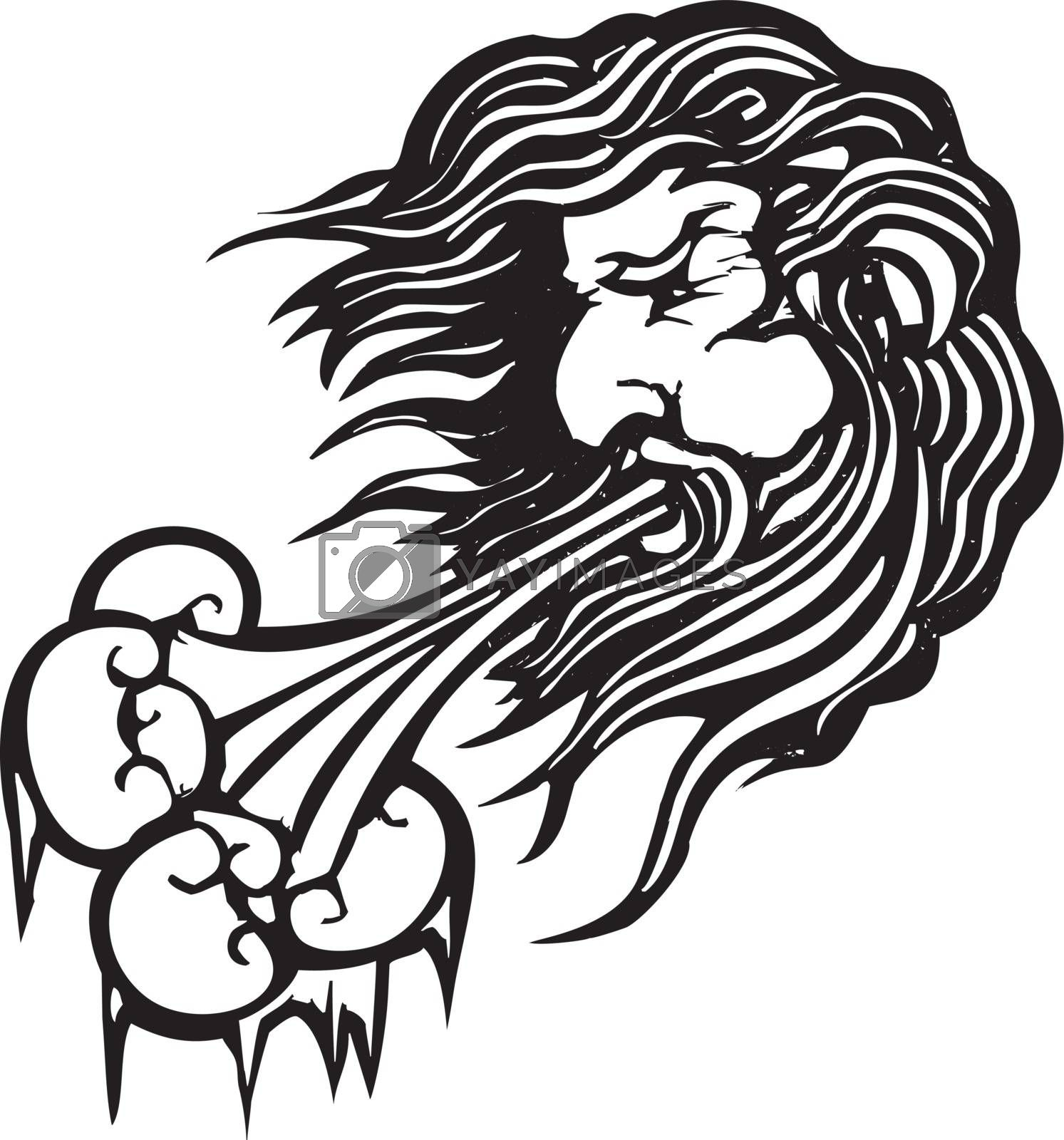 Woodcut style image of the the north wind face blowing cold air.