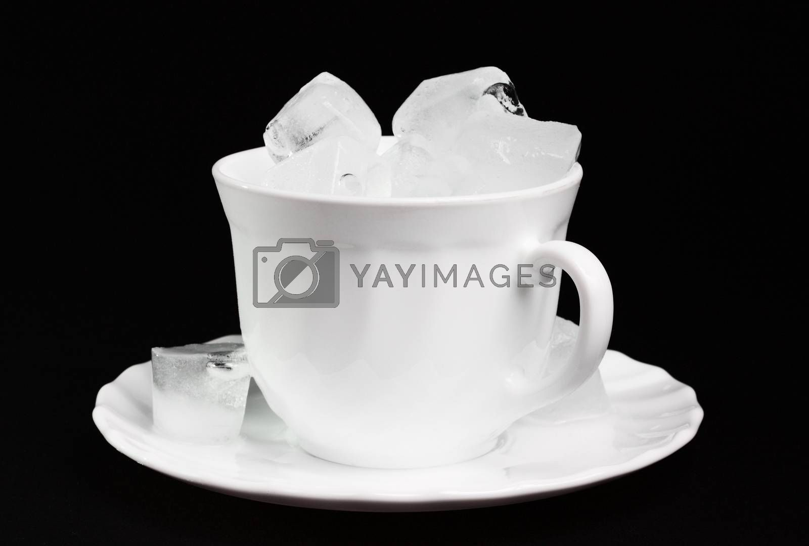 Ice cubes inside a cup at the dark background
