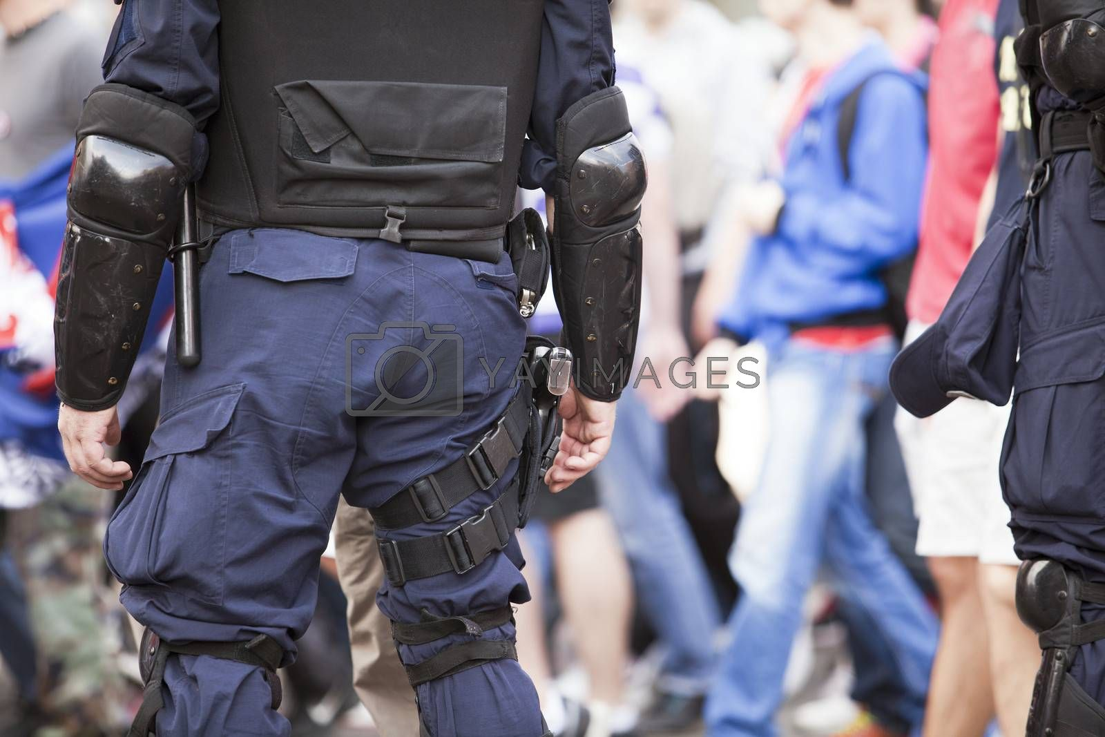 Police officer with gear on duty