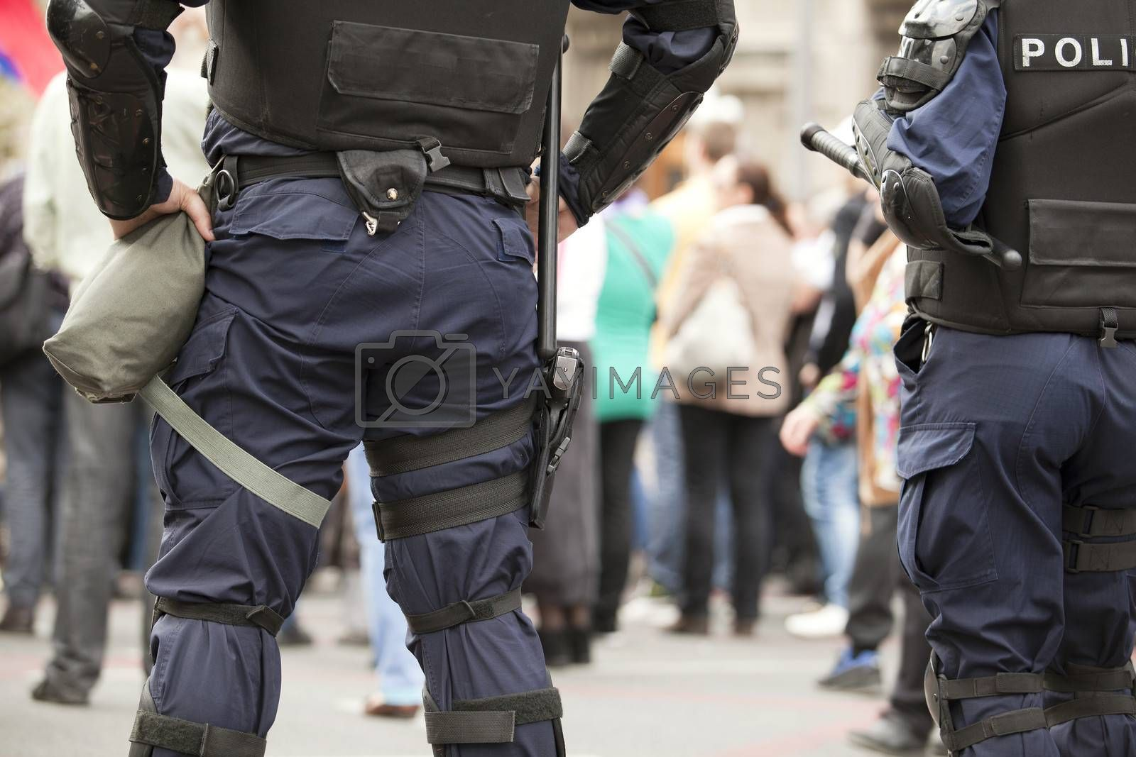 Police officers with gear on duty