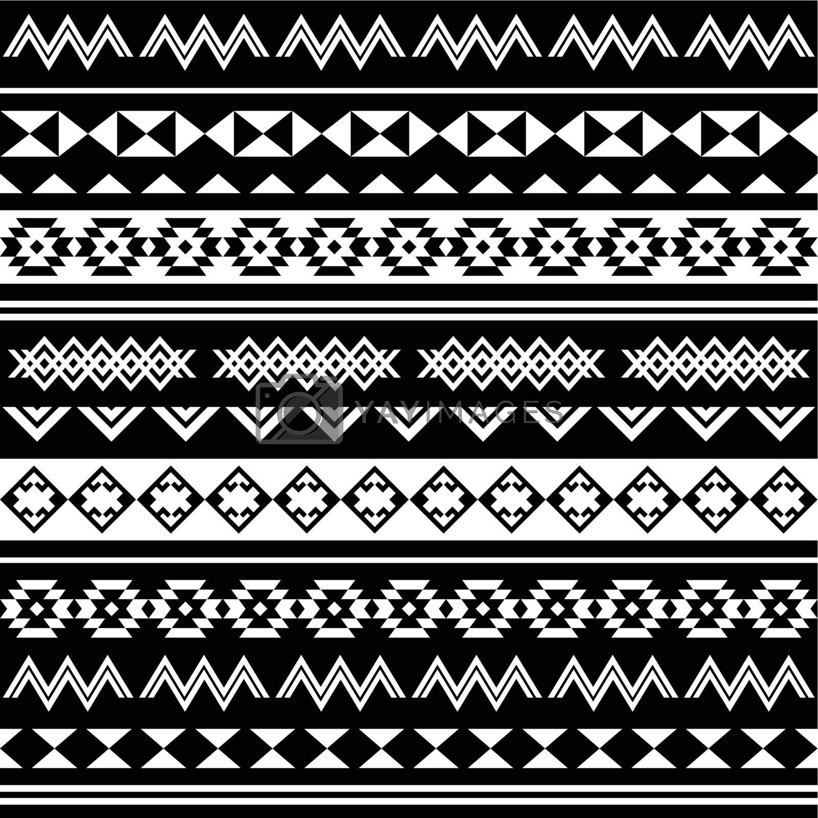 Vector seamless aztec ornament, ethnic background in black and white