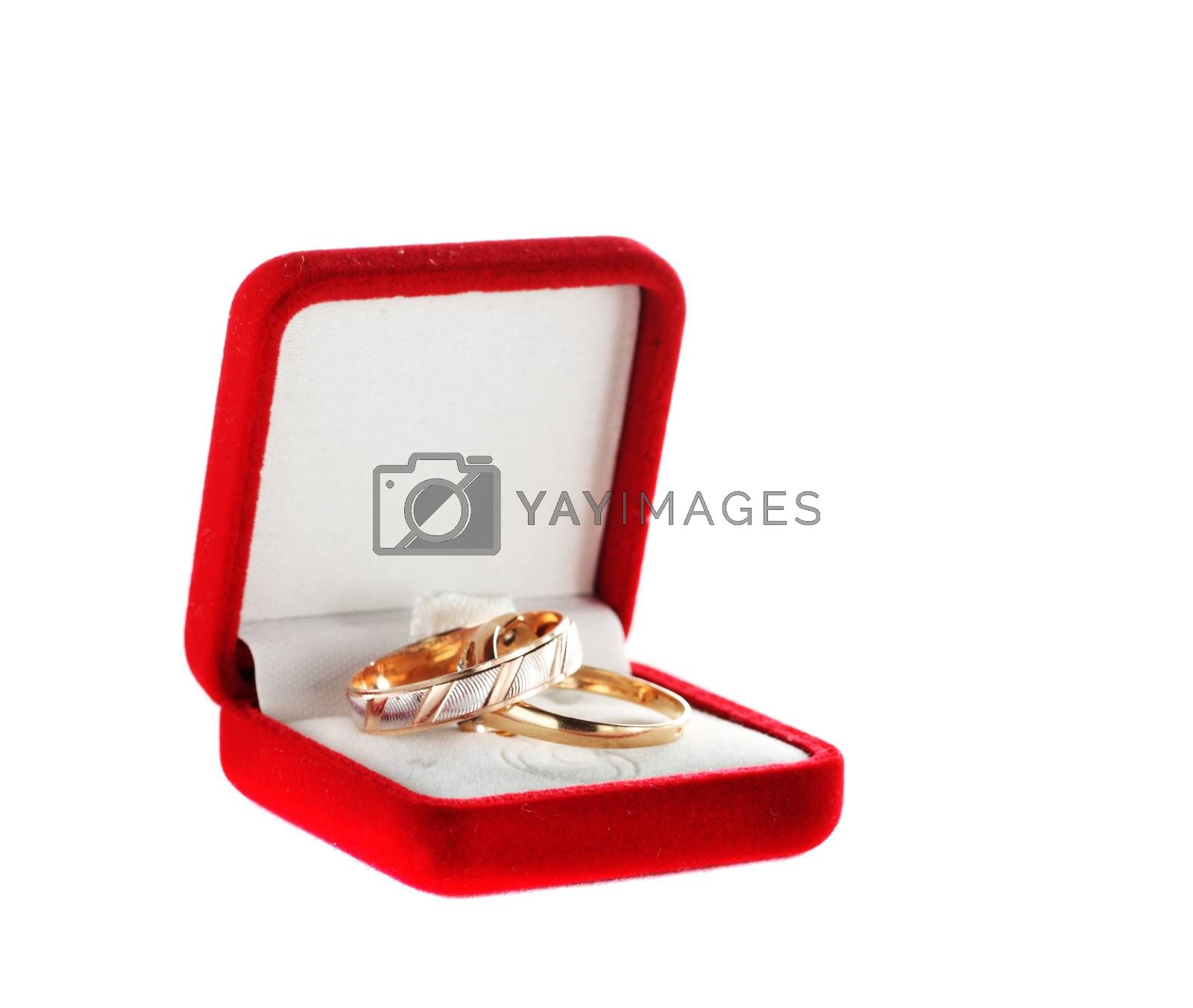 A couple rings in a box on the white
