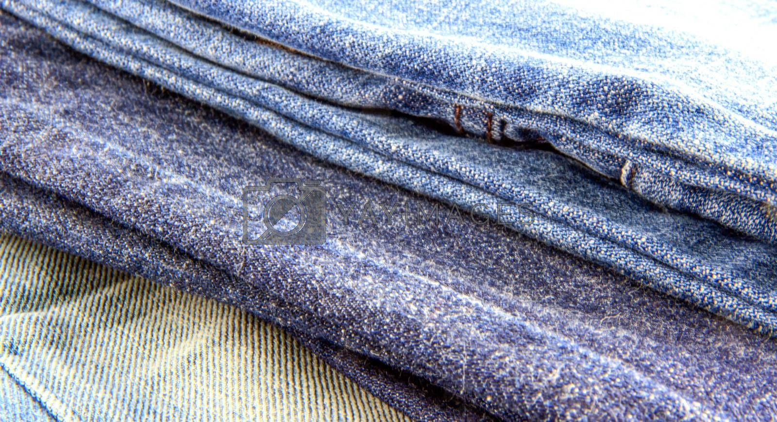 Texture different of three blue jeans