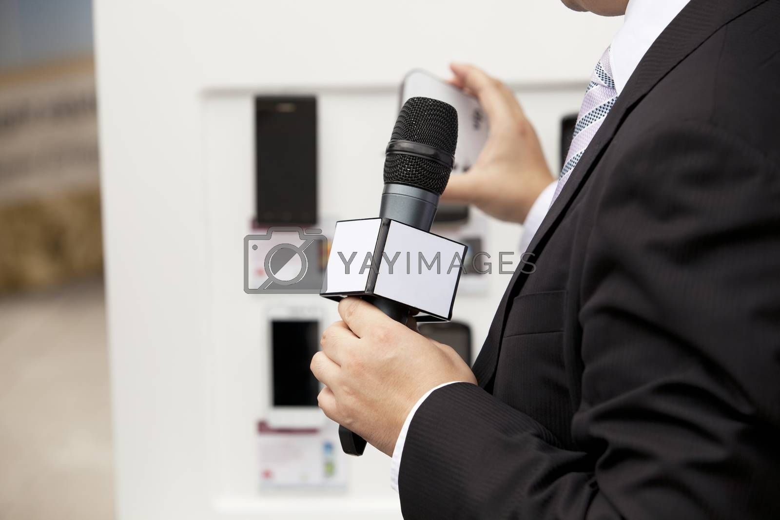 Microphone where a speaker is making his presentation, speach