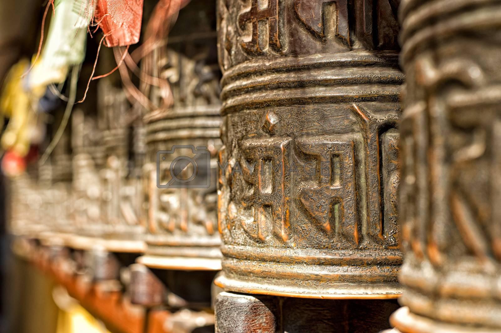 Boudhanath temple bells  in the Kathmandu valley, Nepal