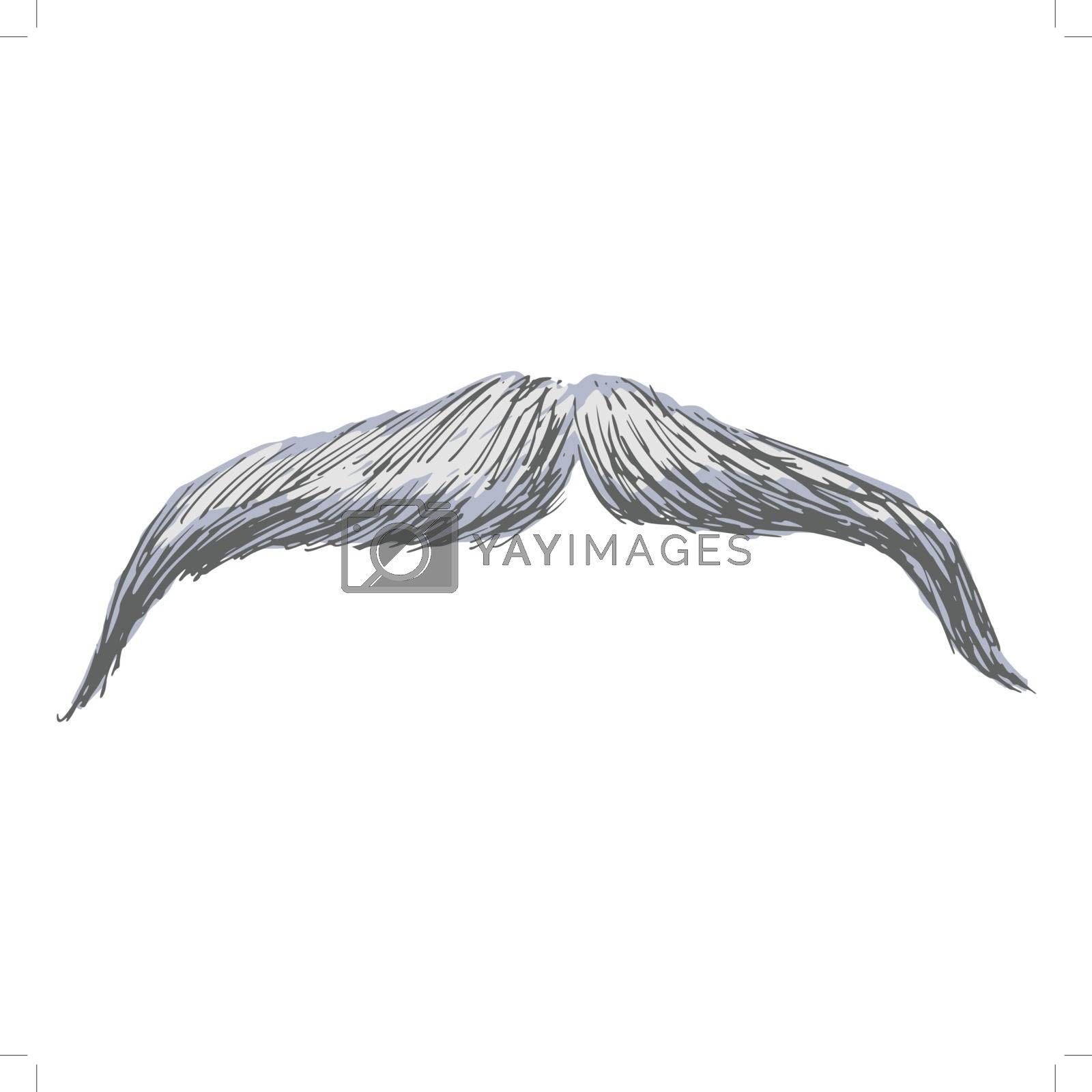 hand drawn, sketch, cartoon illustration of moustache