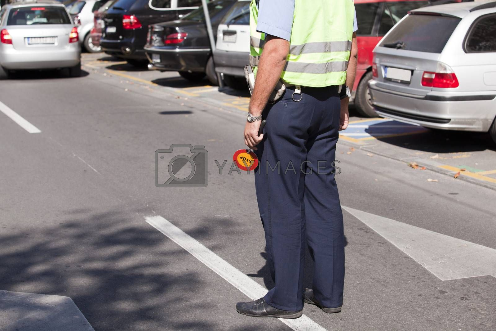 Police officer doing a traffic control
