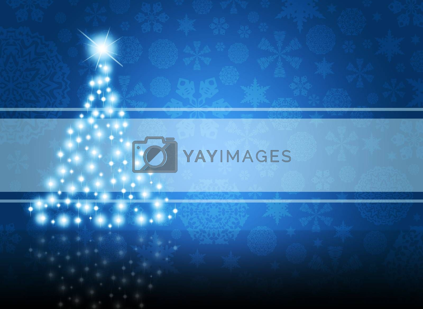 Christmas tree from white snowflakes on blue background