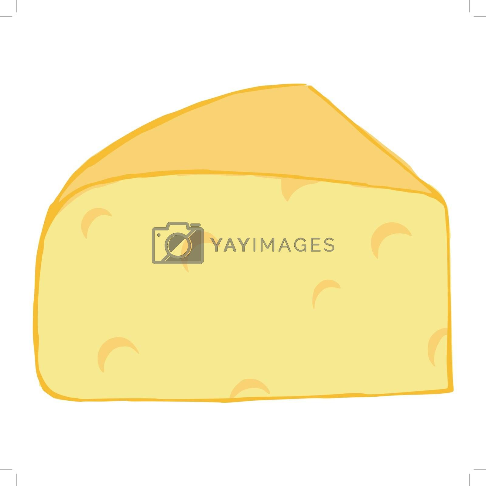 hand drawn, cartoon, sketch illustration of cheese