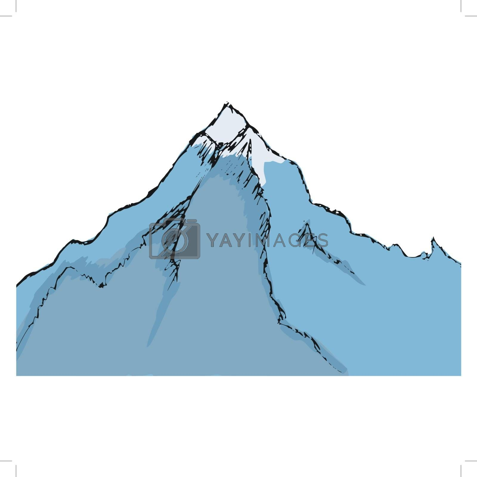 hand drawn, cartoon, sketch illustration of mountain