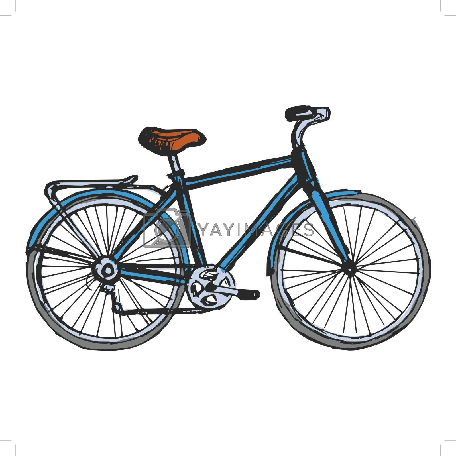 hand drawn, sketch, cartoon illustration of bicycle
