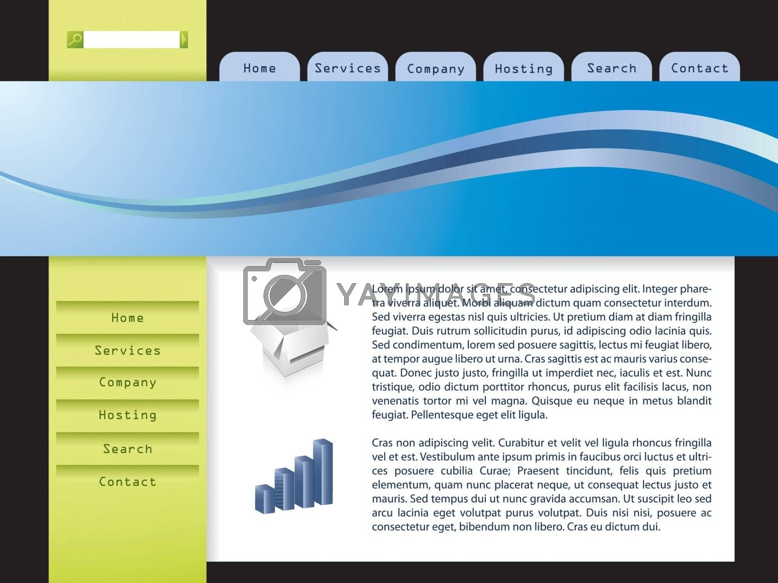 Website template design with cool wave and white space for text