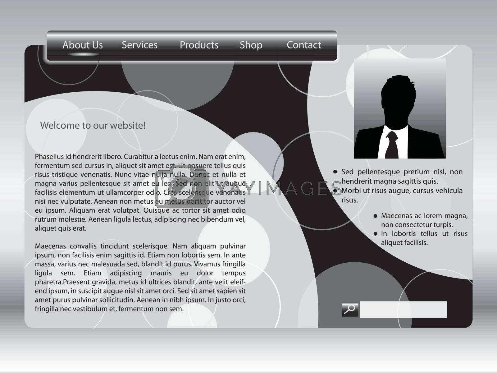 Black and white web template with profile option