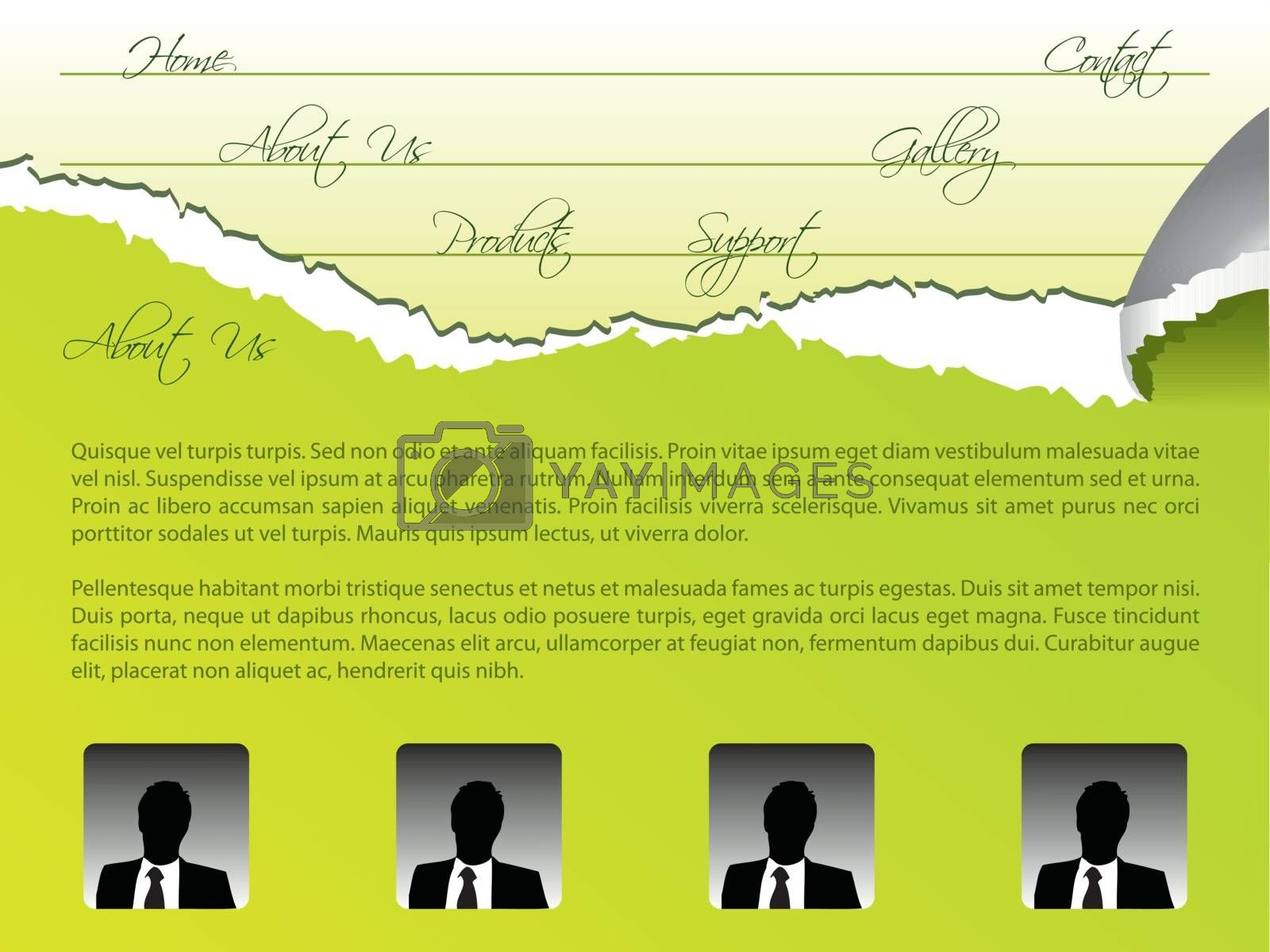 Green web template design with torn papers