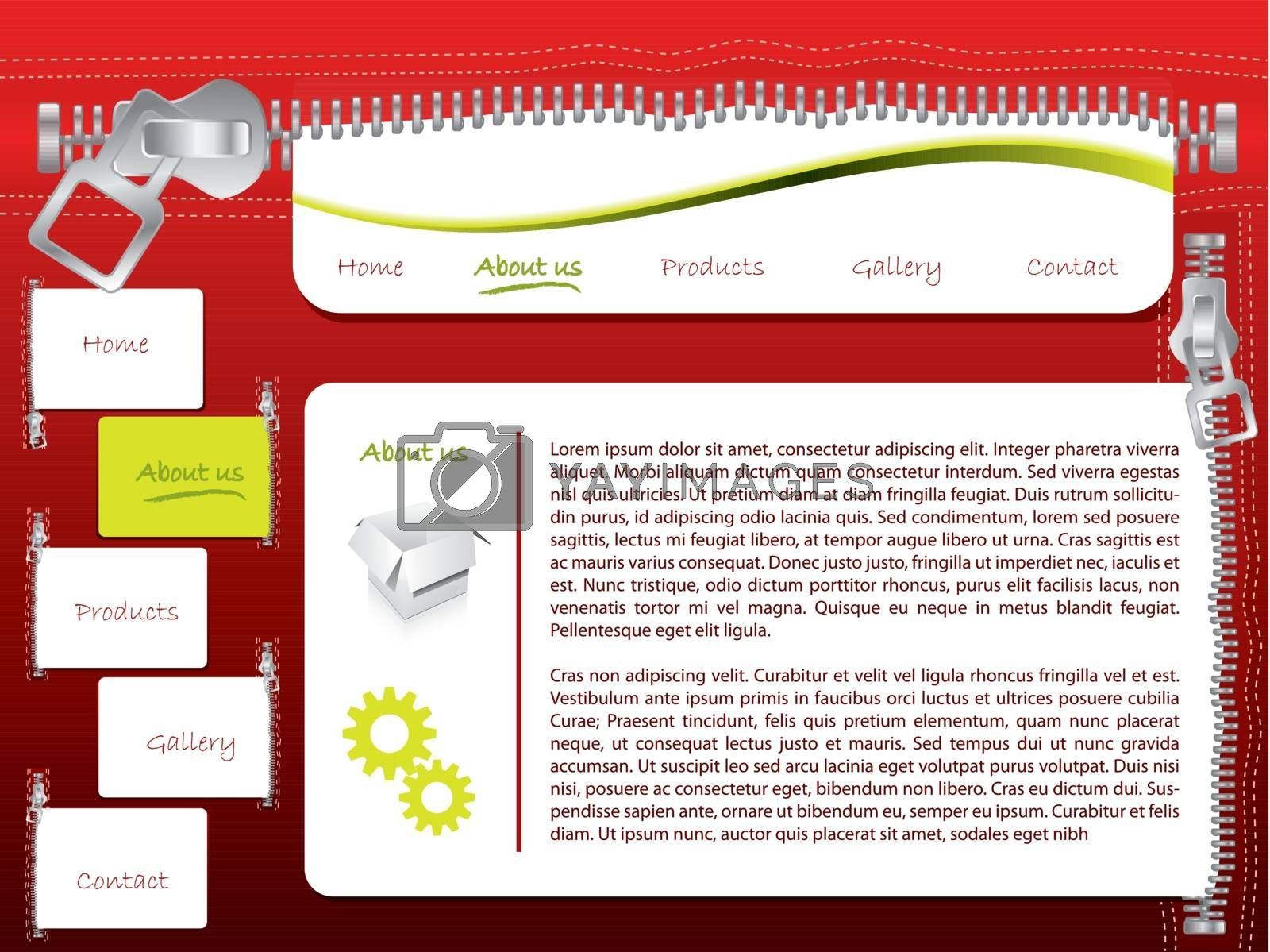 Red website template design with zipper theme