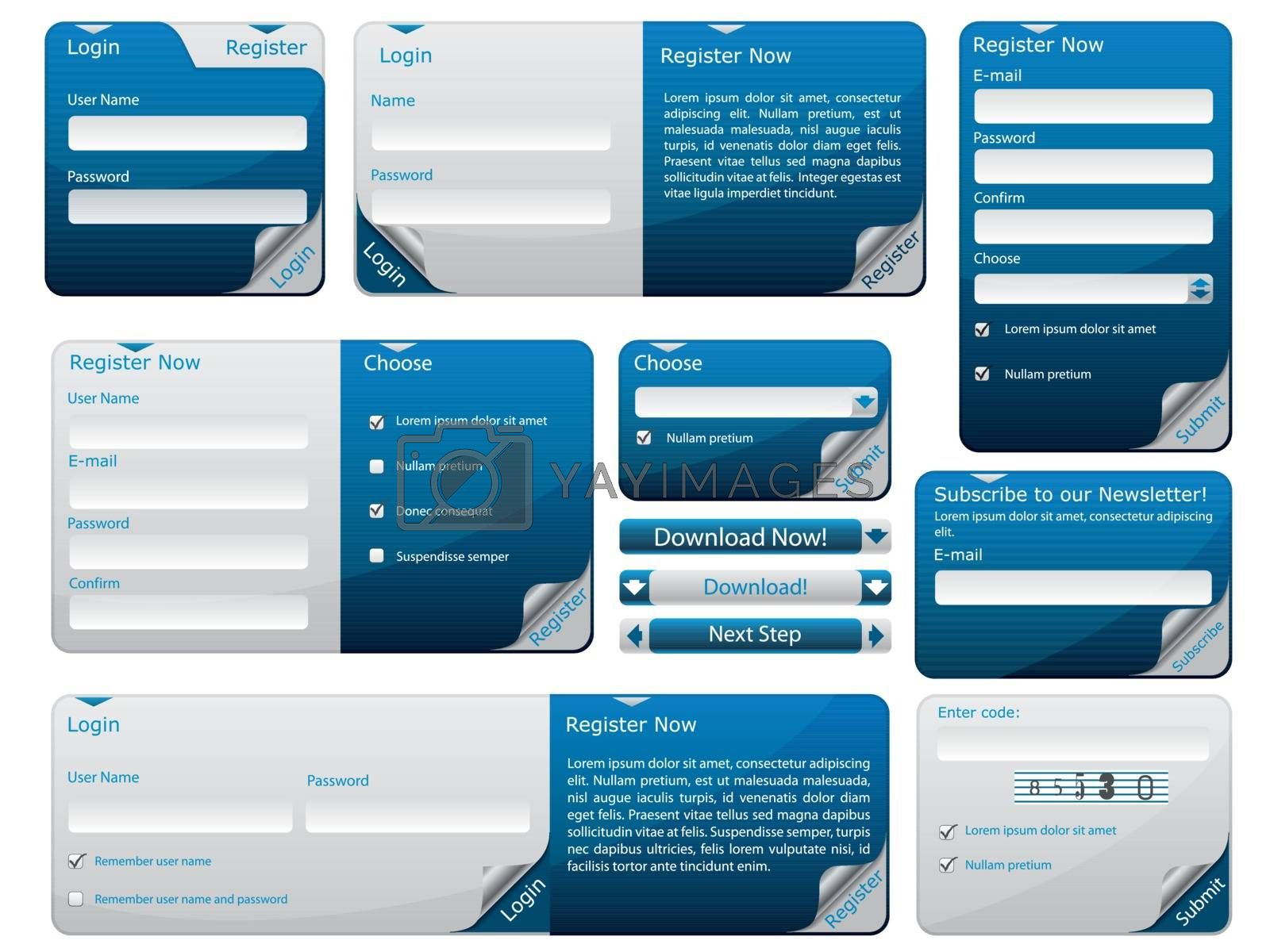 Sticky web form template in blue and gray