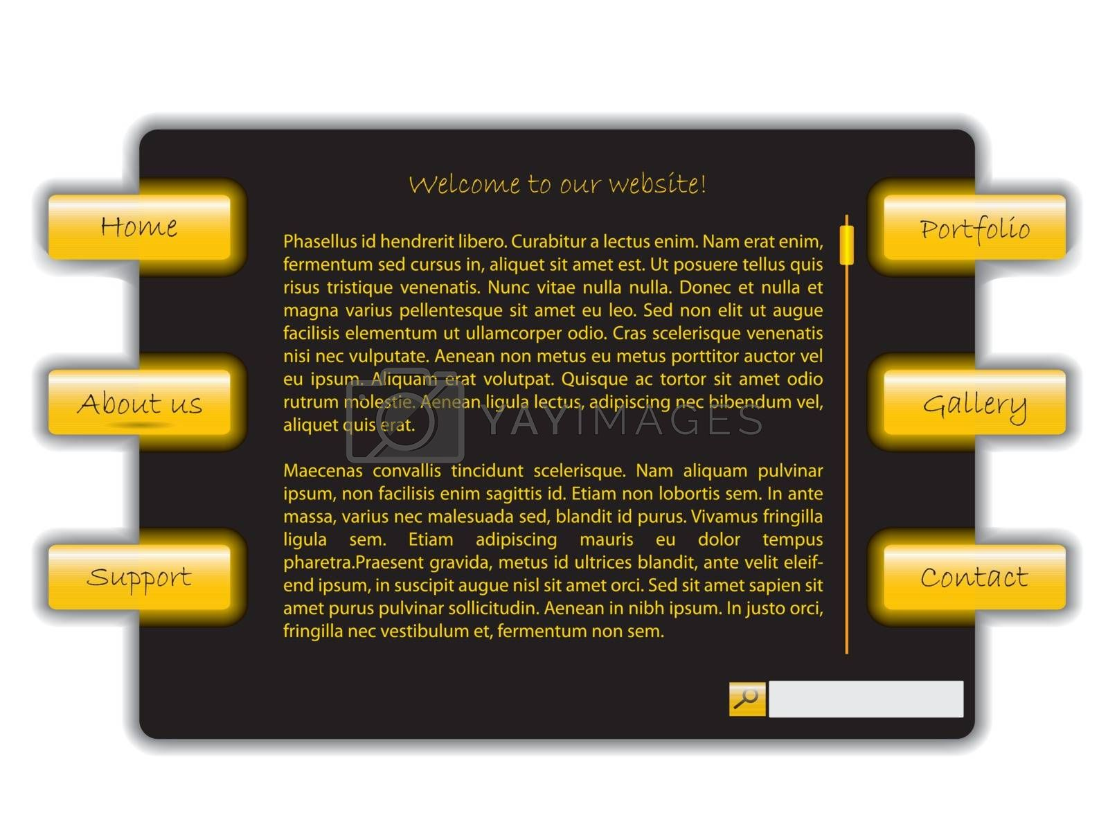 Yellow and black simple web template design on white