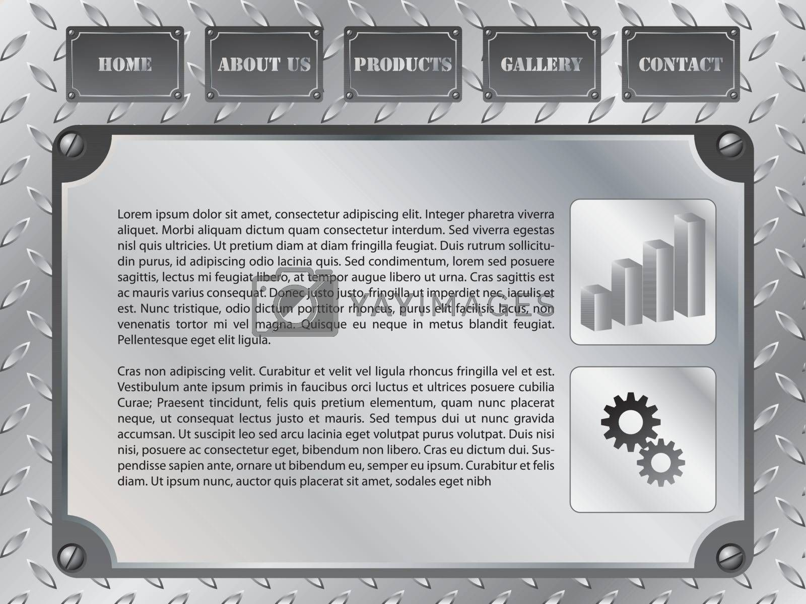 Web template design with metallic industrial elements