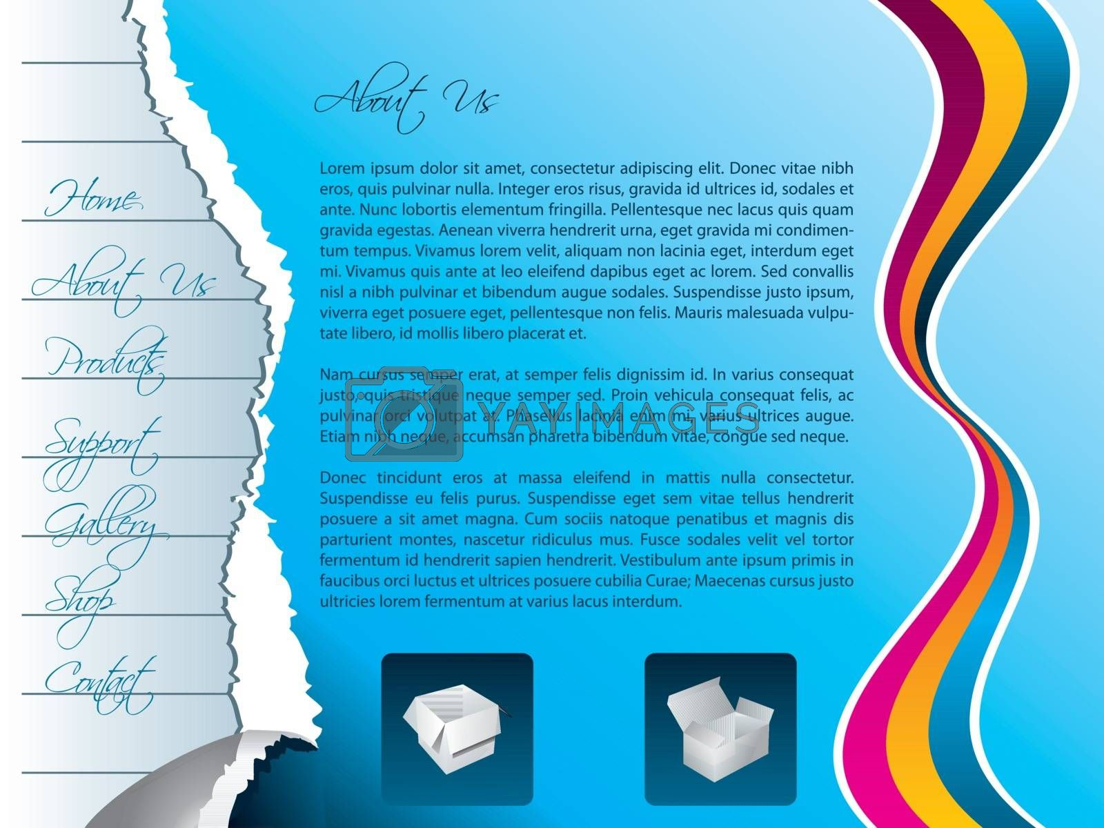 Website template design with torn and striped papers