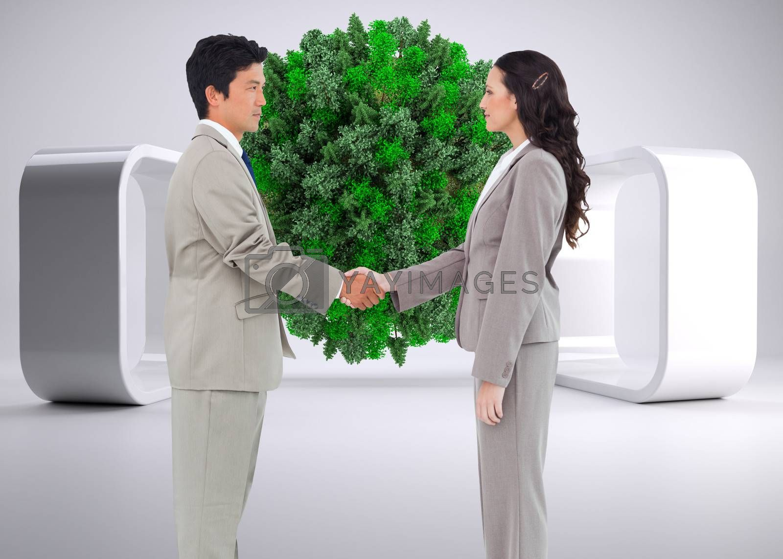 Composite image of side view of hand shaking partners by Wavebreakmedia
