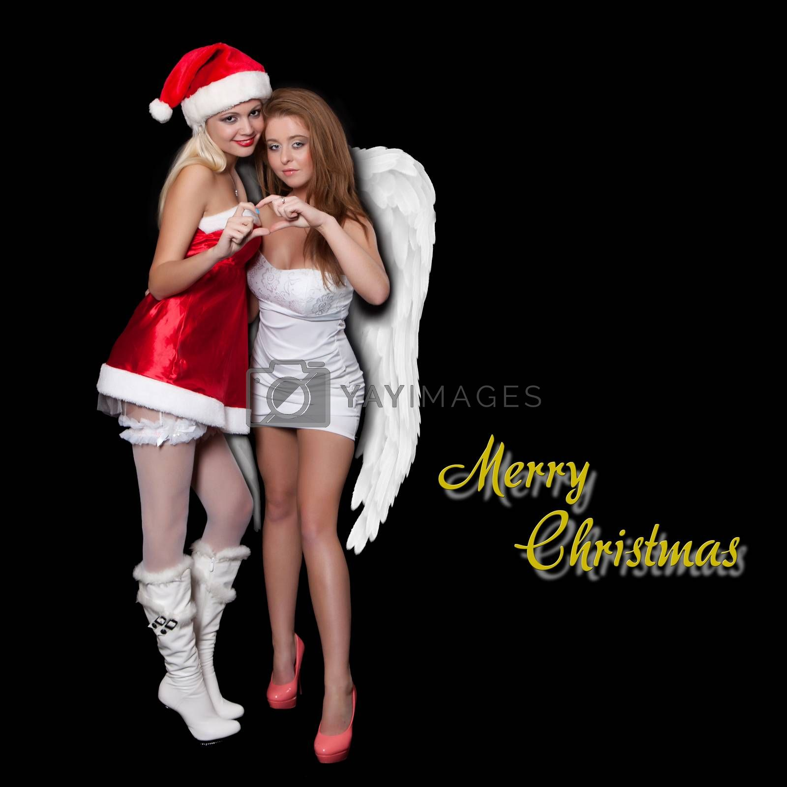 Girls sexy Santa Claus and Angel pointing fingers heart, with the words Merry Christmas