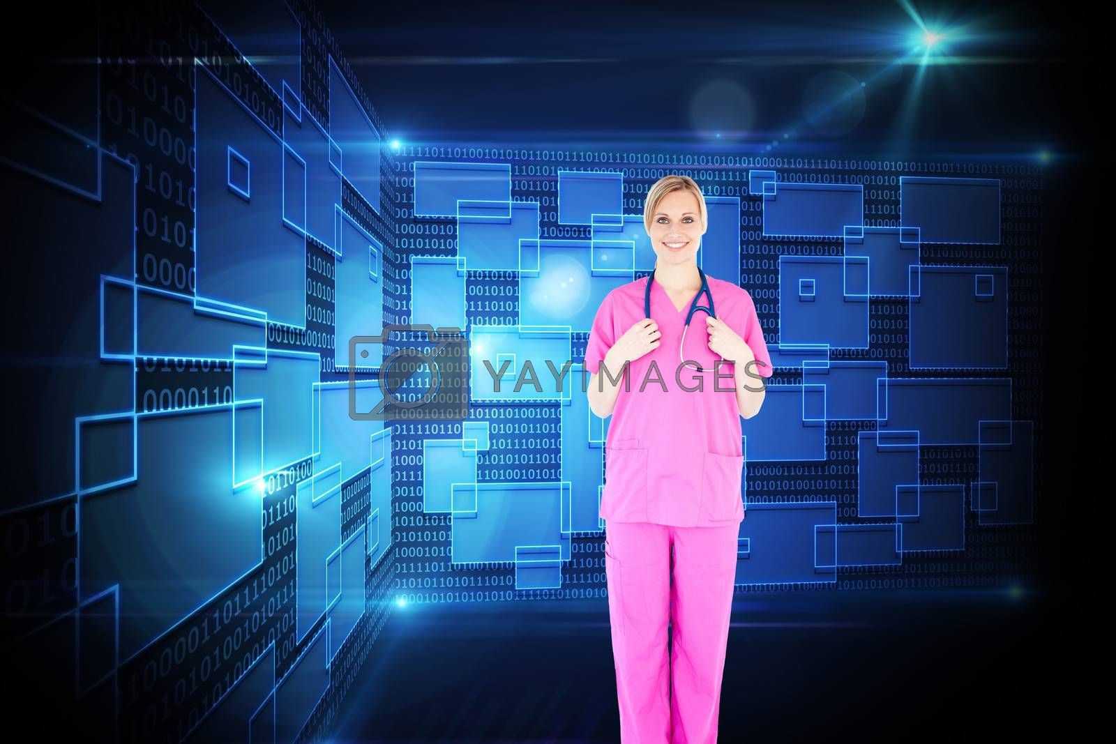 Composite image of confident young female surgeon holding a stethoscope