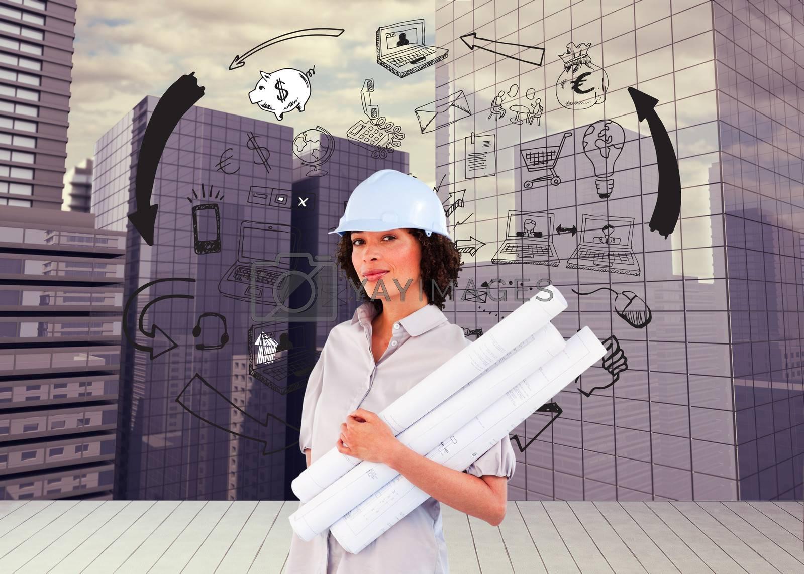 Composite image of confident woman holding construction plans