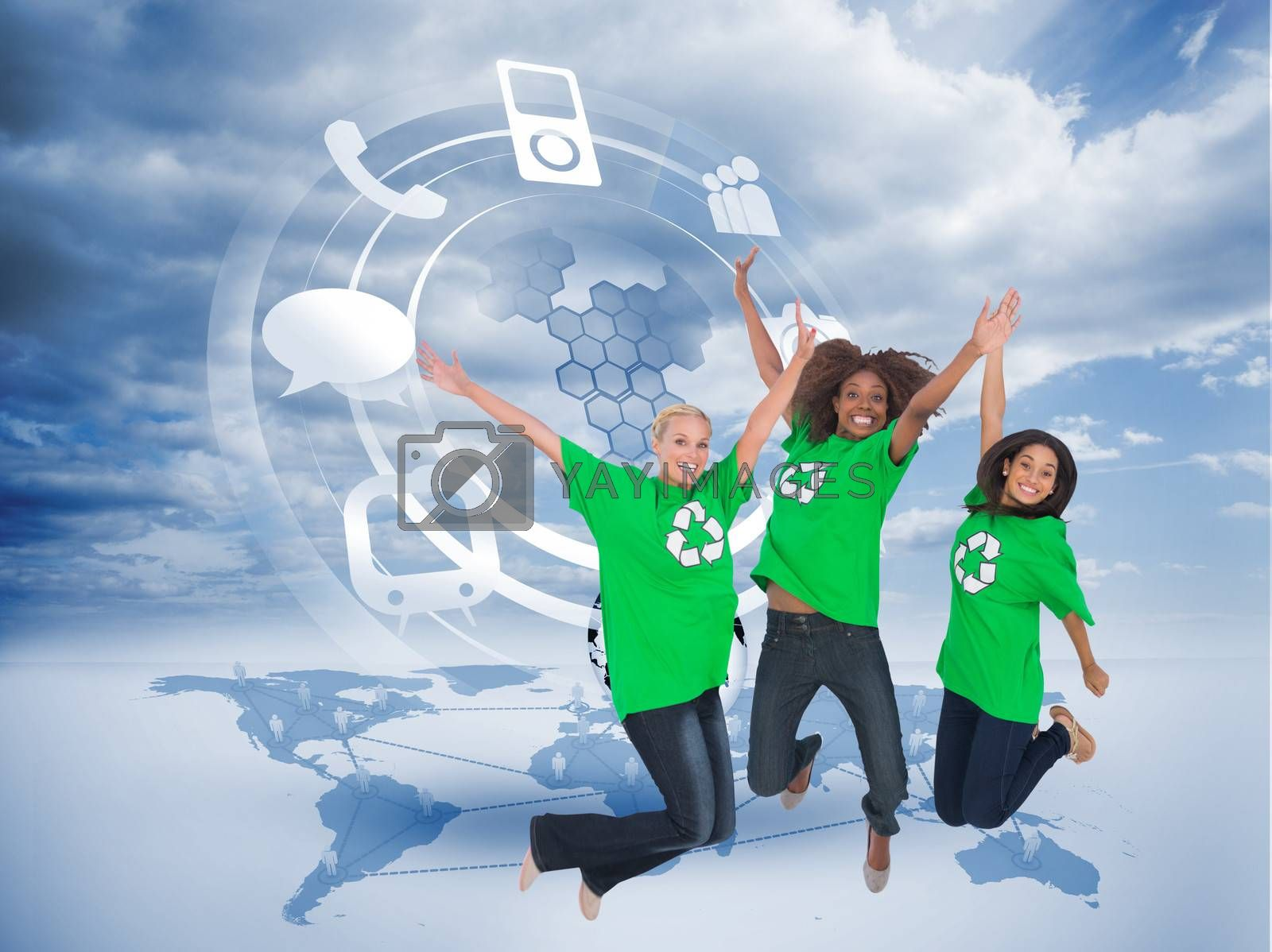 Composite image of three enviromental activists jumping and smiling