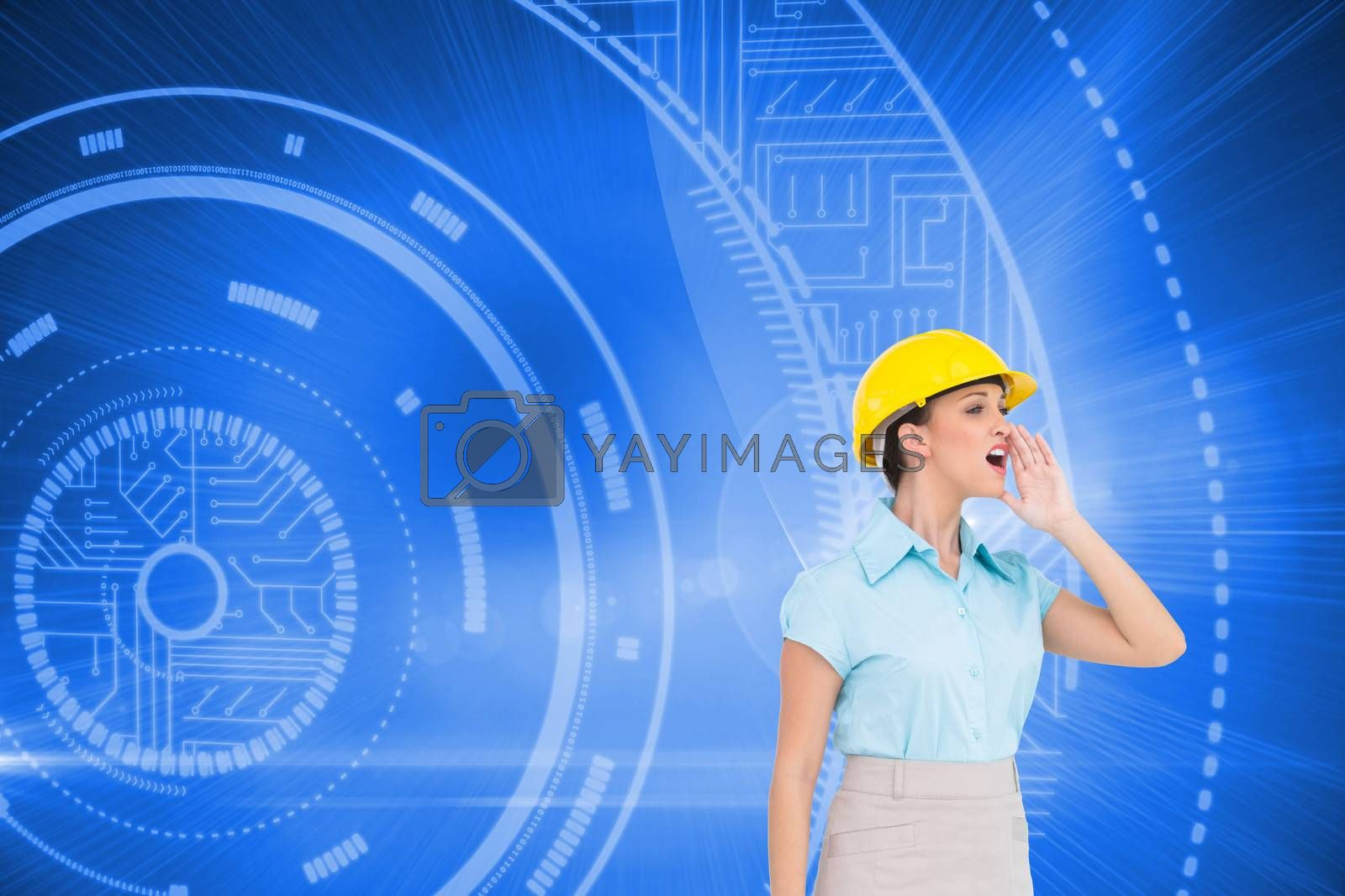 Composite image of attractive architect yelling at workers