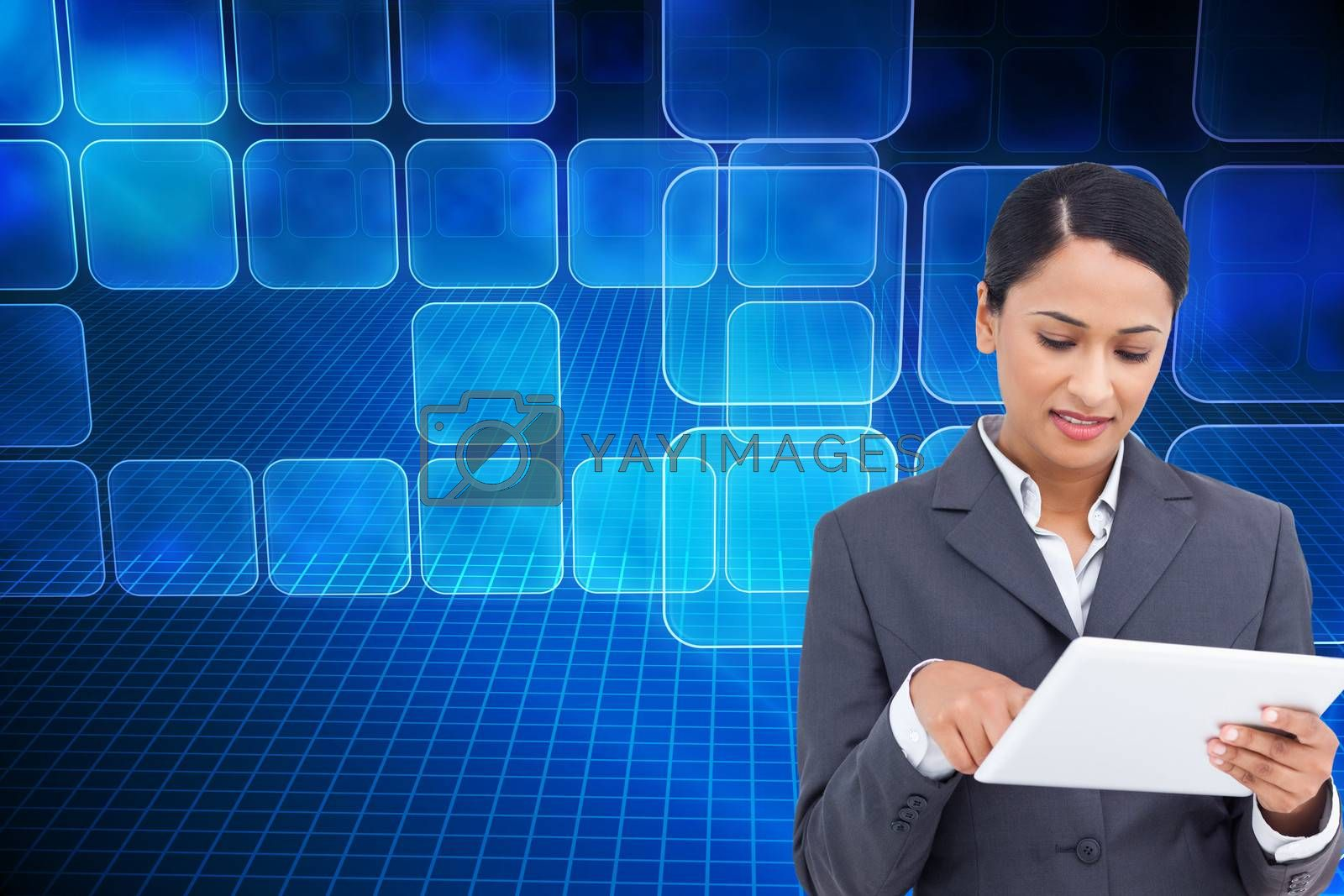 Composite image of close up of saleswoman with her touch screen computer