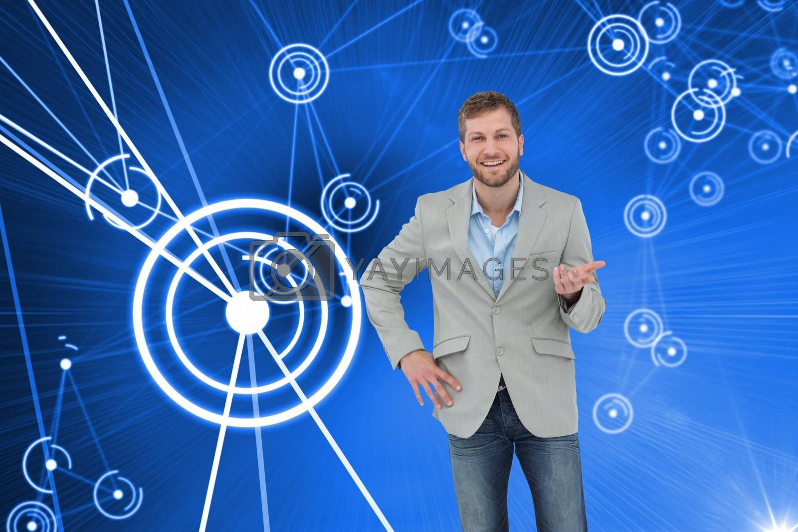 Composite image of stylish man smiling and gesturing with hand up