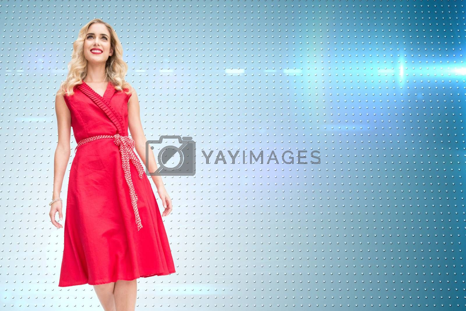 Composite image of smiling attractive blonde walking