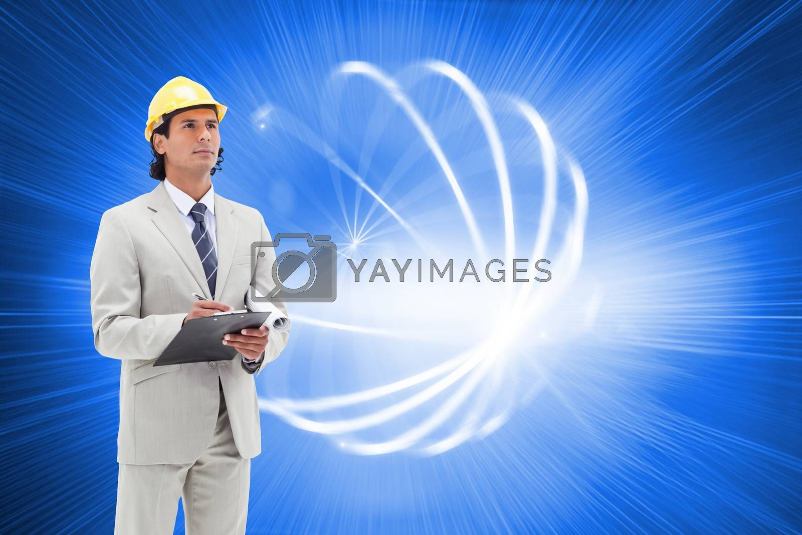 Composite image of attractive architect taking notes