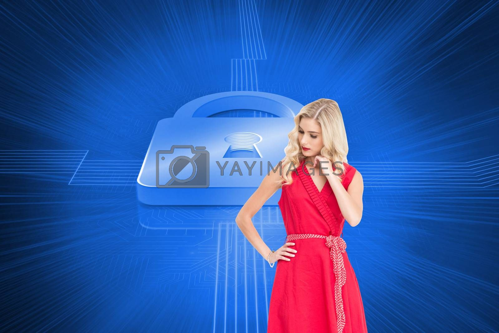 Composite image of elegant blonde standing hand on hip in red dress
