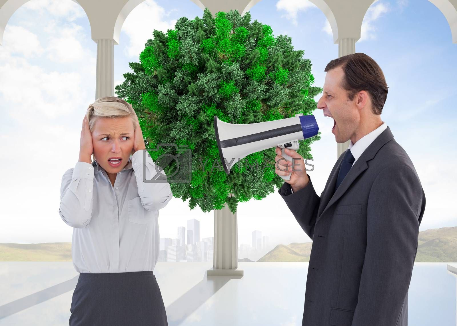 Composite image of businessman shouting at colleague with his bullhorn by Wavebreakmedia