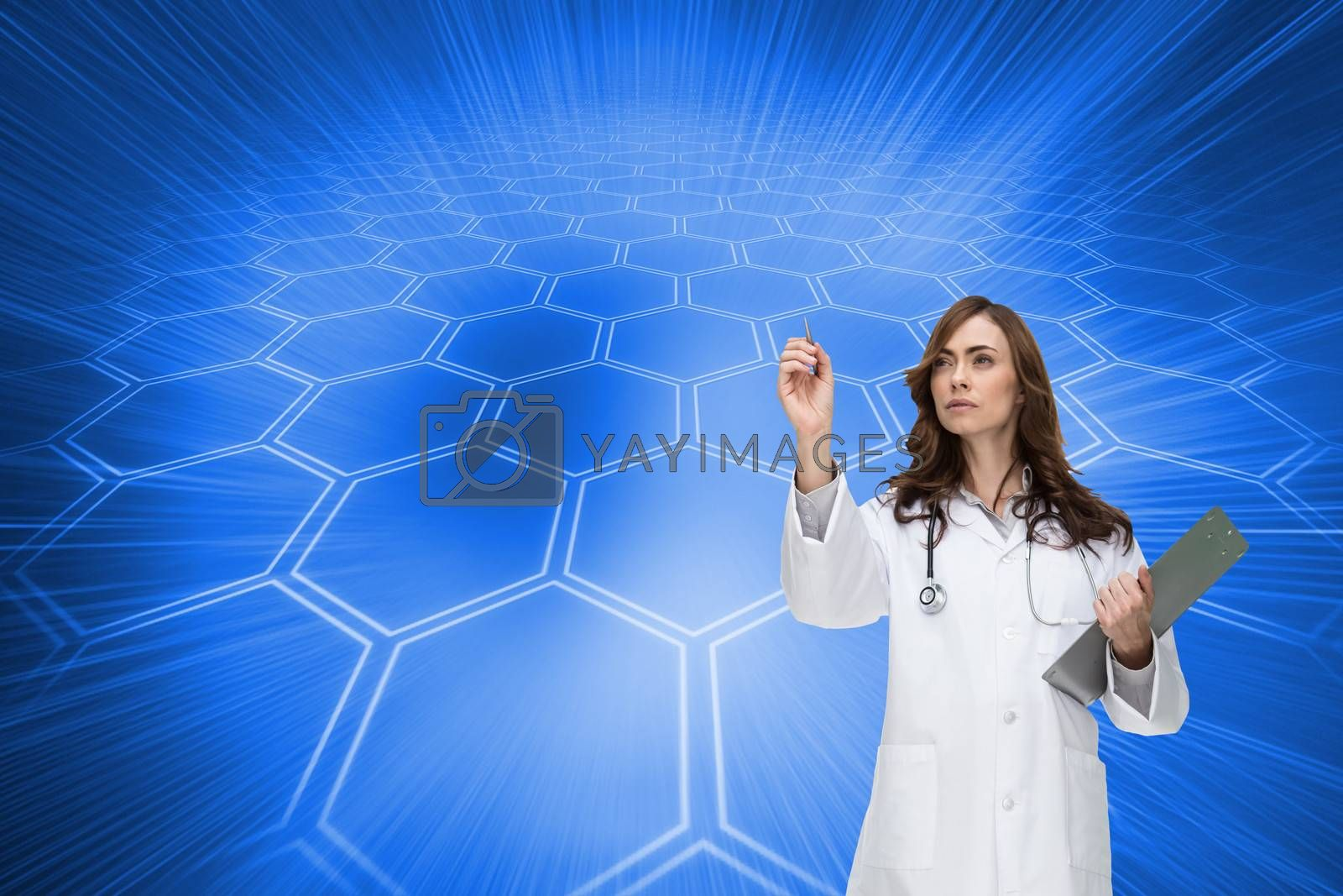 Composite image of stern brunette doctor pointing