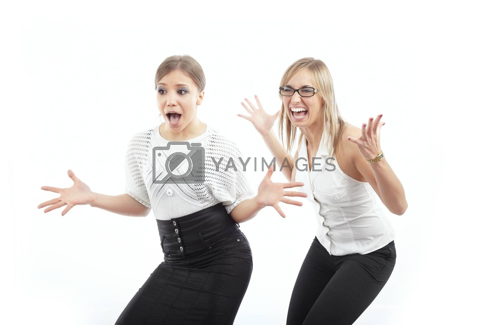 Happy businesswomen crying and gesturing by hands