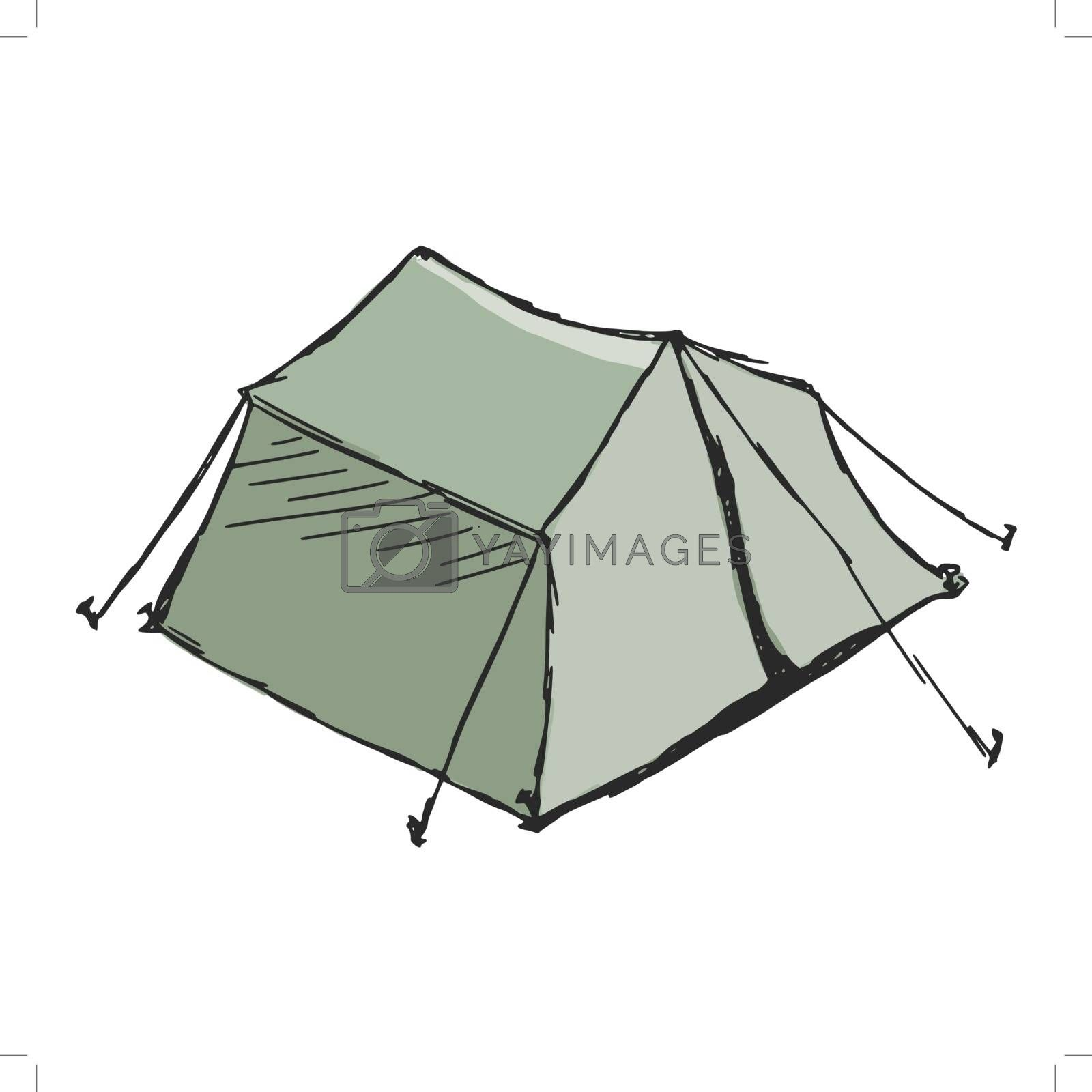 hand drawn, sketch, cartoon illustration of tent