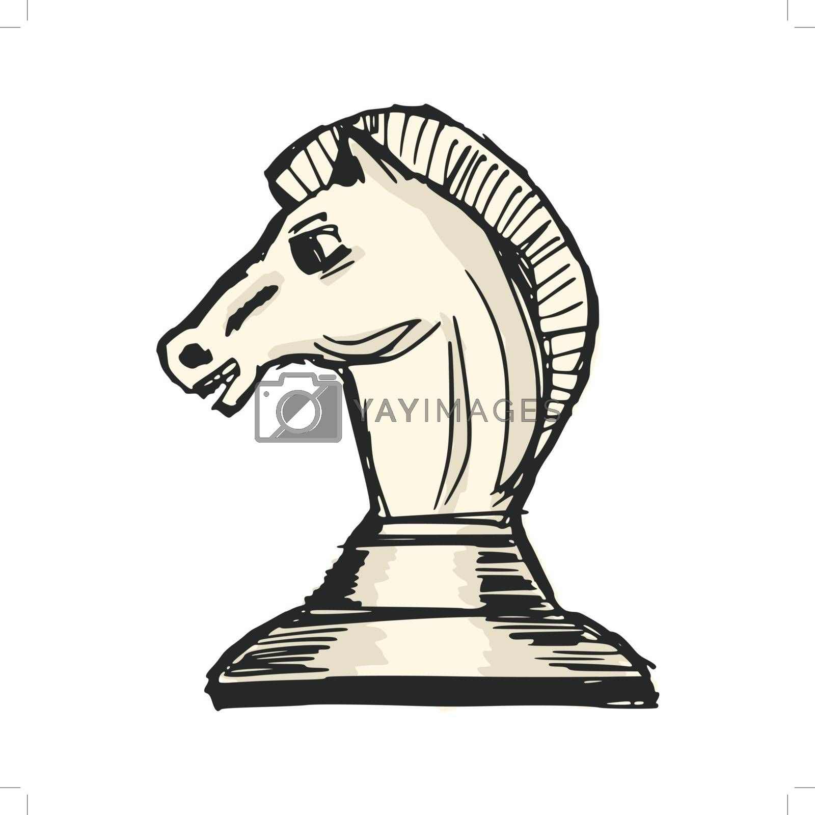 hand drawn, sketch, cartoon illustration of a chess figure